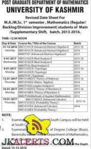 University of Kashmir Revised Date Sheet For M.A./M.Sc