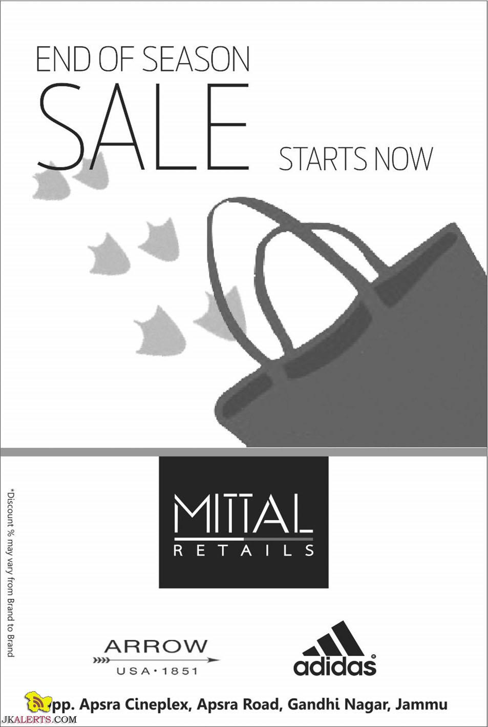 End of Season Sale Addidas, Arrow and other Big Brands in Jammu Mittal Retails