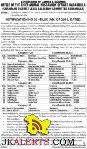 rovisional Select list for class IV posts in Animal Husbandry Department (District Cadre)