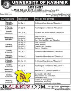 UNIVERSITY OF KASHMIR DATE SHEET For M.Ed
