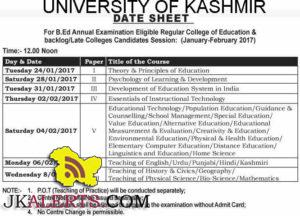 Kashmir University Date Sheet B.Ed Annual Examination January-February 2017