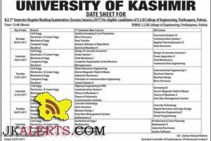 UNIVERSITY OF KASHMIR DATE SHEET B.E 5TH Semester Regular/Backlog Examination