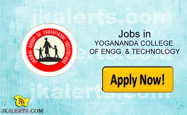 YOGANANDA COLLEGE OF ENGG. & TECHNOLOGY RECRUITMENT