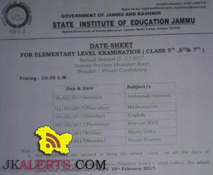 Date Sheet For Elementary Level Exam Class 5th 6th 7th Jammu province Regular/Private