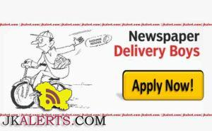 Newspaper Delivery Boys Required for Various Parts of Kashmir posts 100