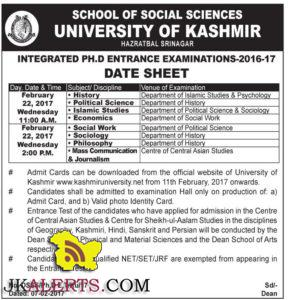 UNIVERSITY OF KASHMIR INTEGRATED PH.D ENTRANCE EXAMINATIONS-2016-17 DATE SHEET