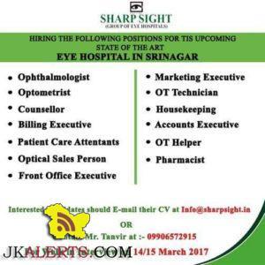 JOBS IN SHARP SIGHT EYE HOSPITAL IN SRINAGAR