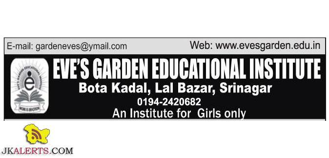 EVE GARDEN EDUCATIONAL INSTITUTE JOBS
