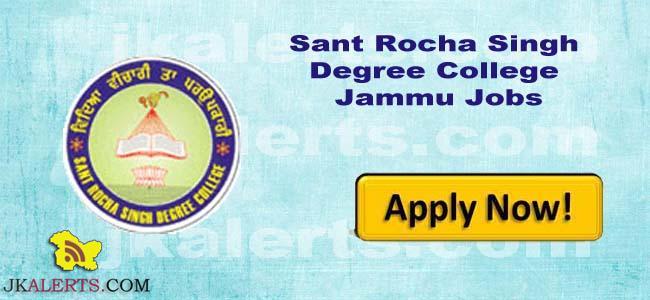 Sant Rocha Singh Degree College Jammu jobs