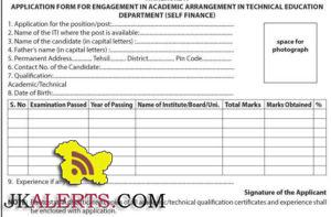 application form iti jobs srinagar