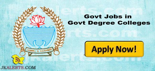 Govt Jobs in Various Govt Degree Colleges academic arrangement basis