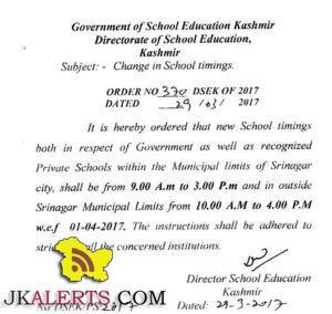 School timinig Change in Kashmir