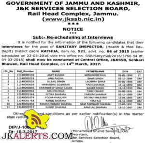 or the post of SANITARY INSPECTOR, (Health & Med Edu. Deptt) District cadre KATHUA