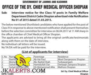 Interview notice for the Class IV posts in Family Welfare