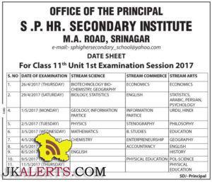 S .P. HR. Secondary Institute Class 11th Unit 1st Examination Session 2017