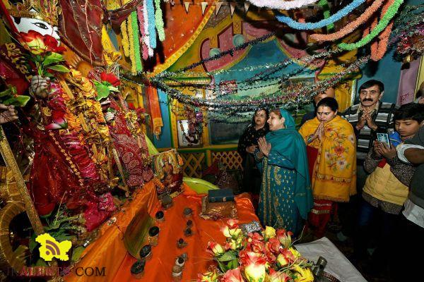 Kashmiri Pandits praying at Ram temple Barbarshah in Srinagar