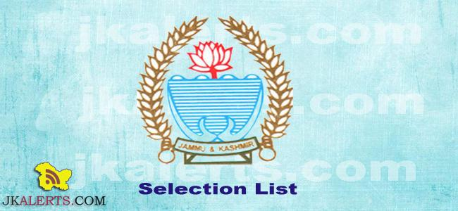 J&K School Education Department, DSE Kashmir ,Selection list ,General Teacher , Science Math TeachersAnantnag, Bandipora, Budgam Baramulla, Ganderbal, Kulgam, Shopian, Pulwama and Srinagar,Selection list