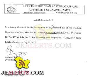 Jammu Univerisity Summer Break