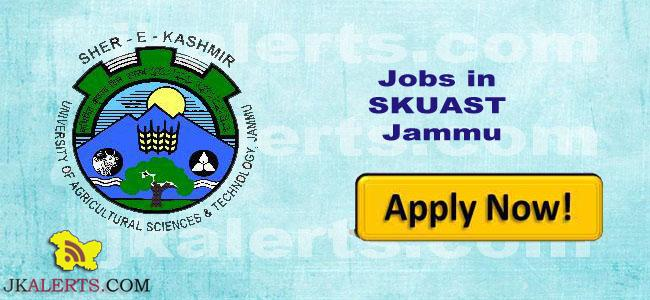 SKUAST Jammu Jobs Recruitment 2021.
