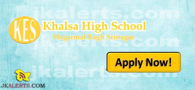 khalsa high school khs Srinagar jobs