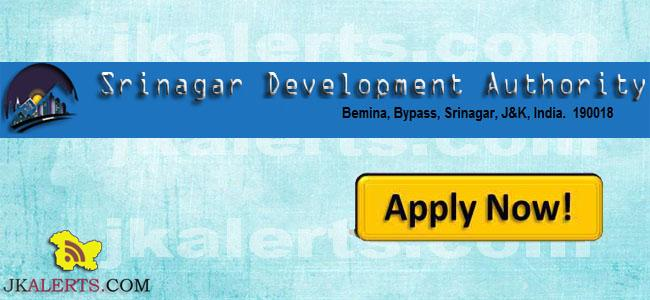 SRINAGAR DEVELOPMENT AUTHORITY RECRUITMENT,