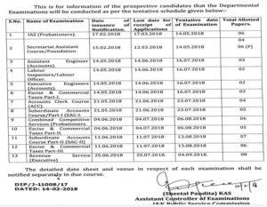 JKPSC Calendar For Departmental Examinations 2018