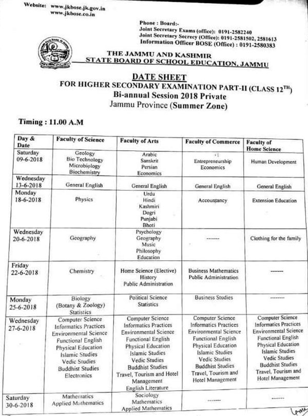 JKBOSE Date Sheet Class 12th Bi Annual Session 2018 Private Jammu Province (Summer Zone)
