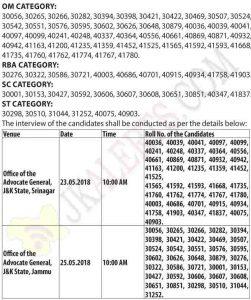 adv general interview schedule