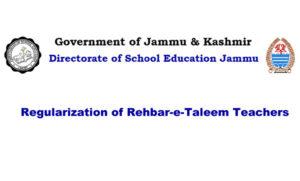 Regularization of Rehbar-e-Taleem Teachers