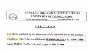 Jammu University Summer vocation notification