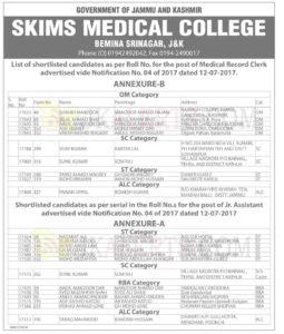 SKIMS Medical College Bemina Srinagar,List of shortlisted candidates of Medical Record Clerk