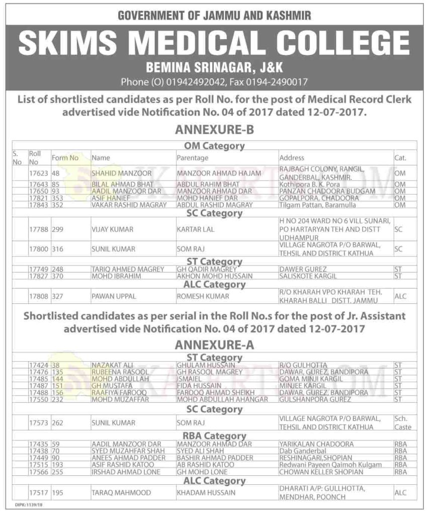 SKIMS Medical College Bemina Srinagar, List of shortlisted candidates of Medical Record Clerk