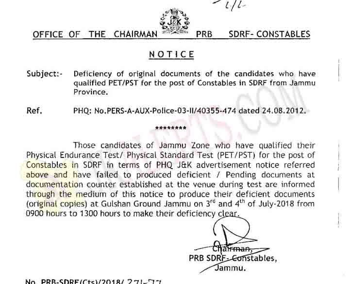 J&K Police deficiency of documents for constables posts in SDRF