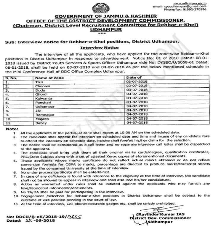 Interview Notice for Rehbar-e-Khel positions