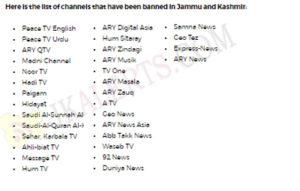 30 channel banned in J&K