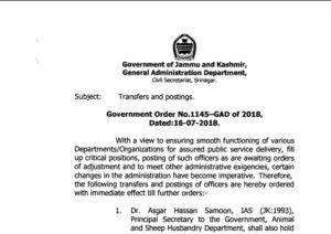 JK Govt orders major administrative reshuffle. 59 officers transfered