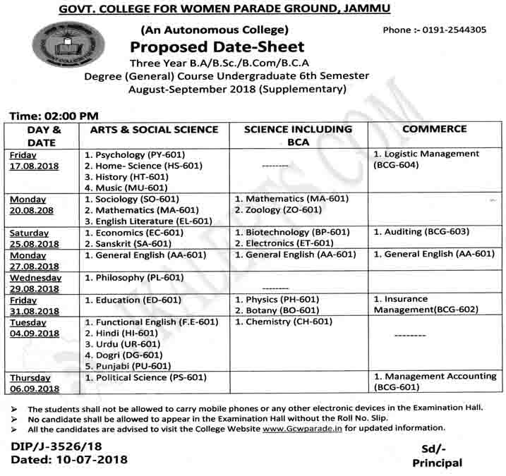 Govt College for Women Parade Jammu Date Sheet