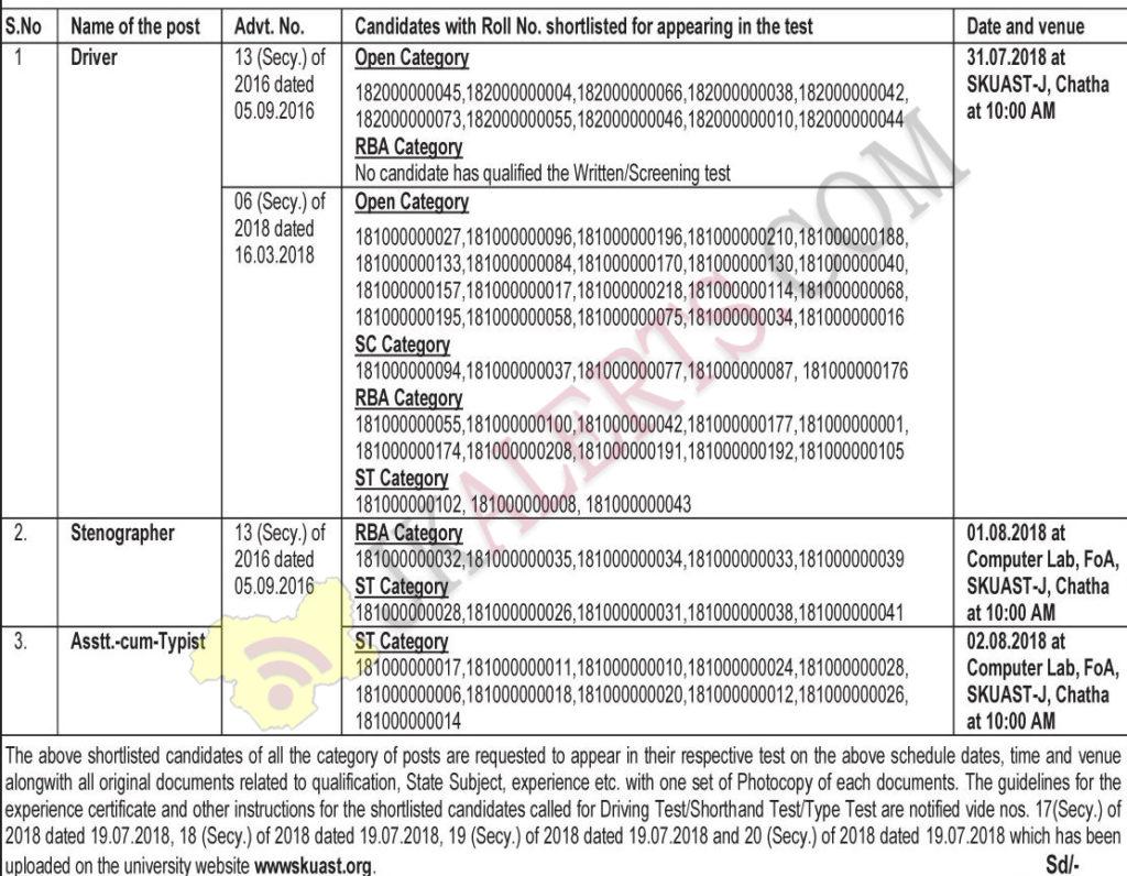 SKUAST Jammu Driving Test/Shorthand Test/Type Test