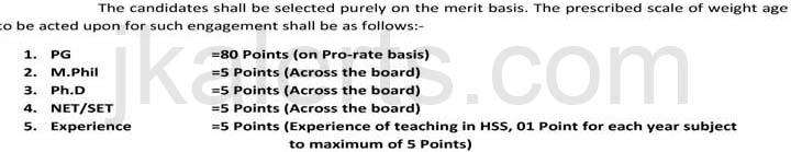 Selection criteria Lecturer jobs in Kathua Jammu
