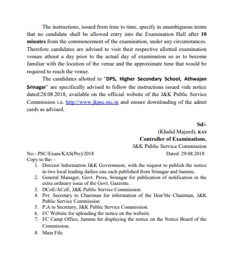 JKPSC List of the Examination venuesKAS (Preliminary) Exam