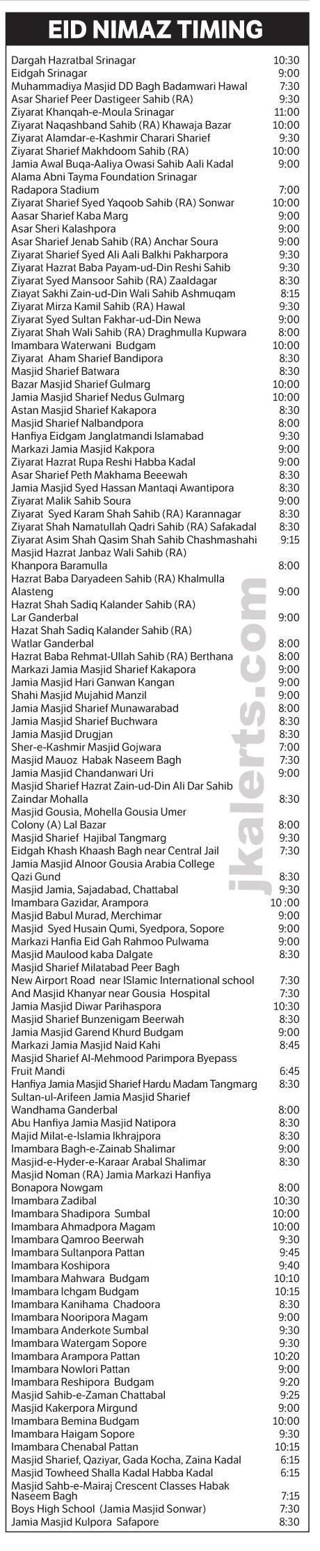 Eid Namaz timing Srinagar Kashmir 2018