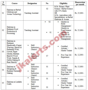 jobs in Central university of Kashmir teaching assistant, Skill Instructor