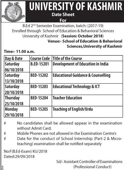 University of Kashmir Date Sheet For B.Ed