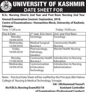 University of Kashmir Practical Date Sheet B.Sc. Nursing Post Basic Nursing