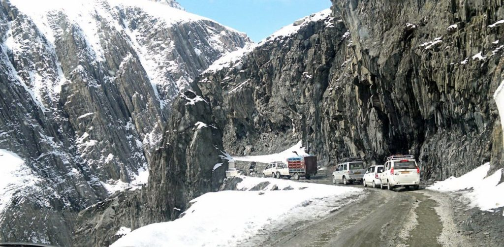 Fresh snowfall around Zijilla Pass and higher reaches of Kashmir valley