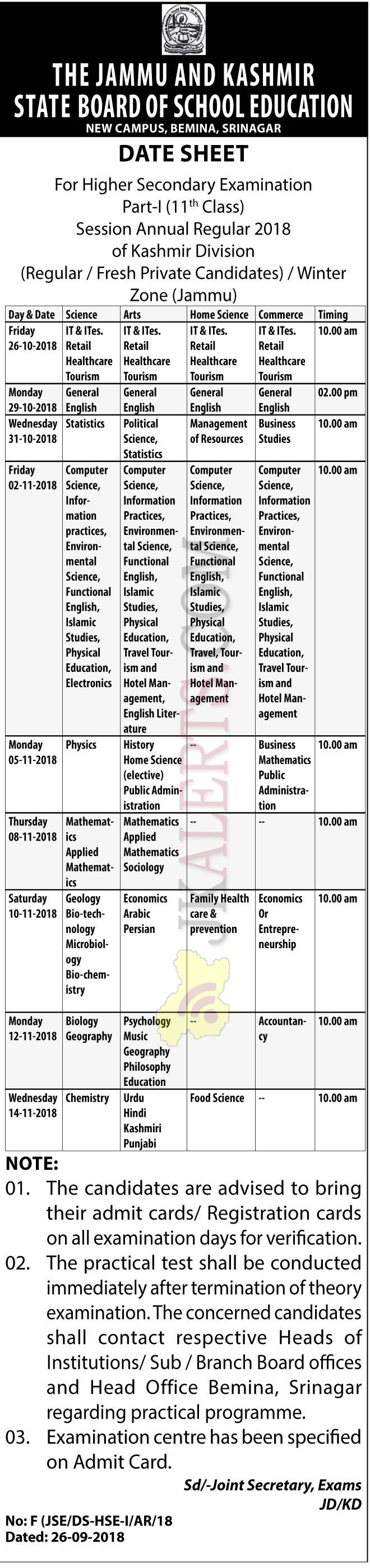 JKBOSE Class 11th Date Sheet