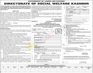 J&K Social Welfare Department Pre-matric Scholarships for Denotified, Nomadic and Semi-Nomadic Tribes (DNTs)