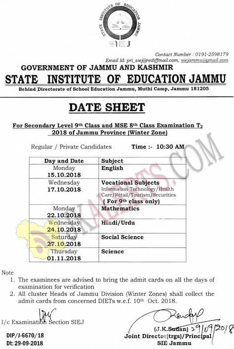 Date Sheet For Secondary Level 9th Class and MSE 8th Class Examination T2 2018 of Jammu Province