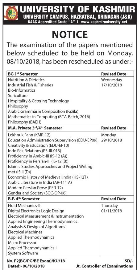 University of Kashmir examination rescheduled