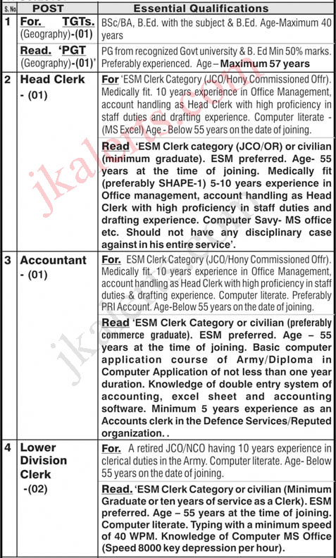 Army Public School APS Miran Sahib Jobs Recruitment